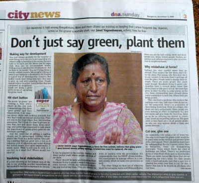 Meet 64 year old Mrs. Janet Yegneswaran, credited with planting more than 50,000