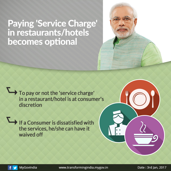 Now, it is your wish to pay 'Service charge' to a hotel or restaurant; If you are not satisfied with the service, you can waive it off