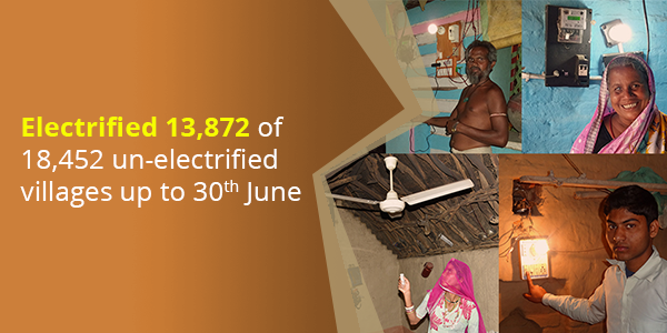 Electrified 13,872 of 18,452 un-electrified villages up to 30th June