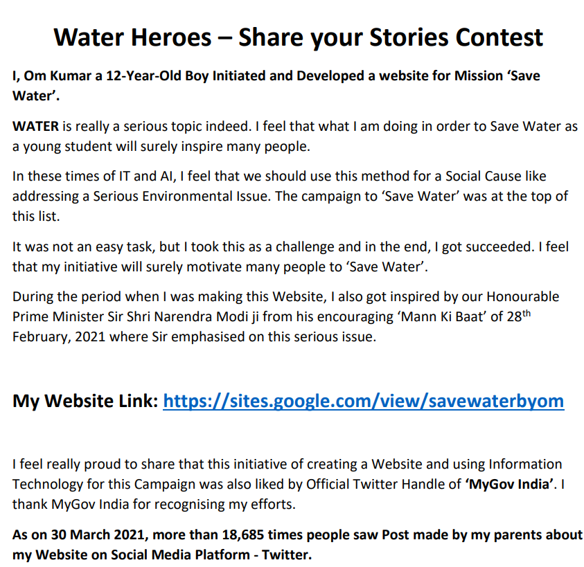 I Om Kumar, am a 12-year old boy, a recipient of the Water Heroes Share Your Sto